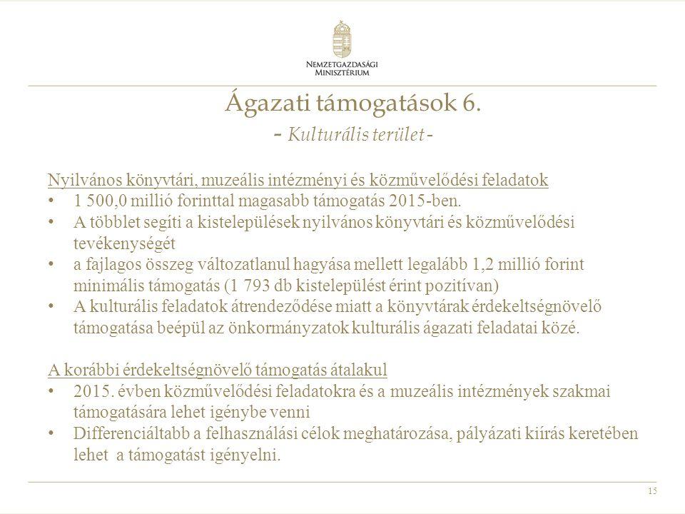 15 Ágazati támogatások 6. - Kulturális terület - Nyilvános könyvtári, muzeális intézményi és közművelődési feladatok 1 500,0 millió forinttal magasabb