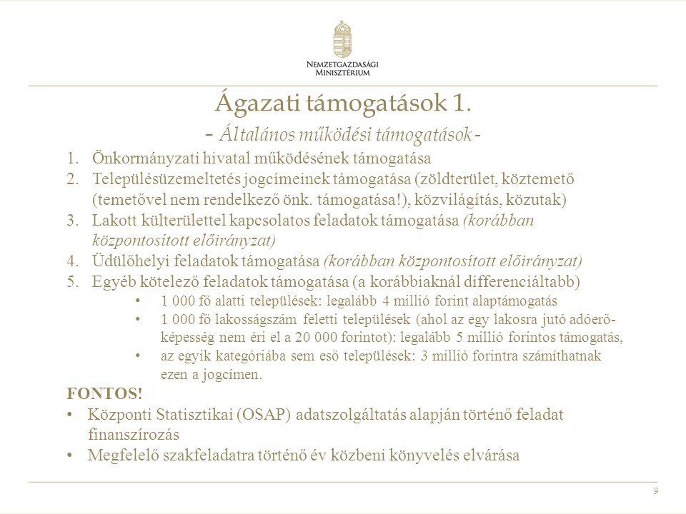 9 Ágazati támogatások 1. - Általános működési támogatások - 1.Önkormányzati hivatal működésének támogatása 2.Településüzemeltetés jogcímeinek támogatá