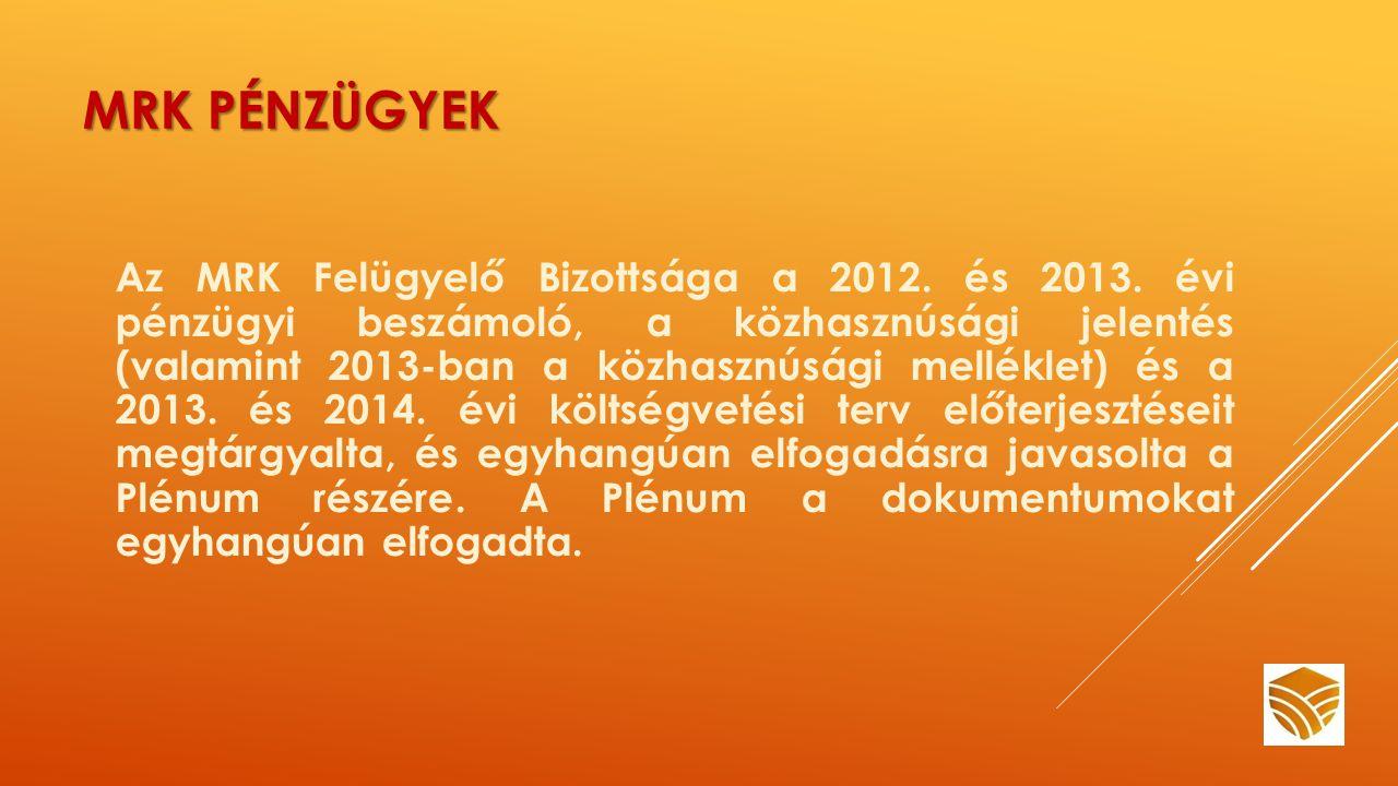 MRK PÉNZÜGYEK Az MRK Felügyelő Bizottsága a 2012. és 2013.