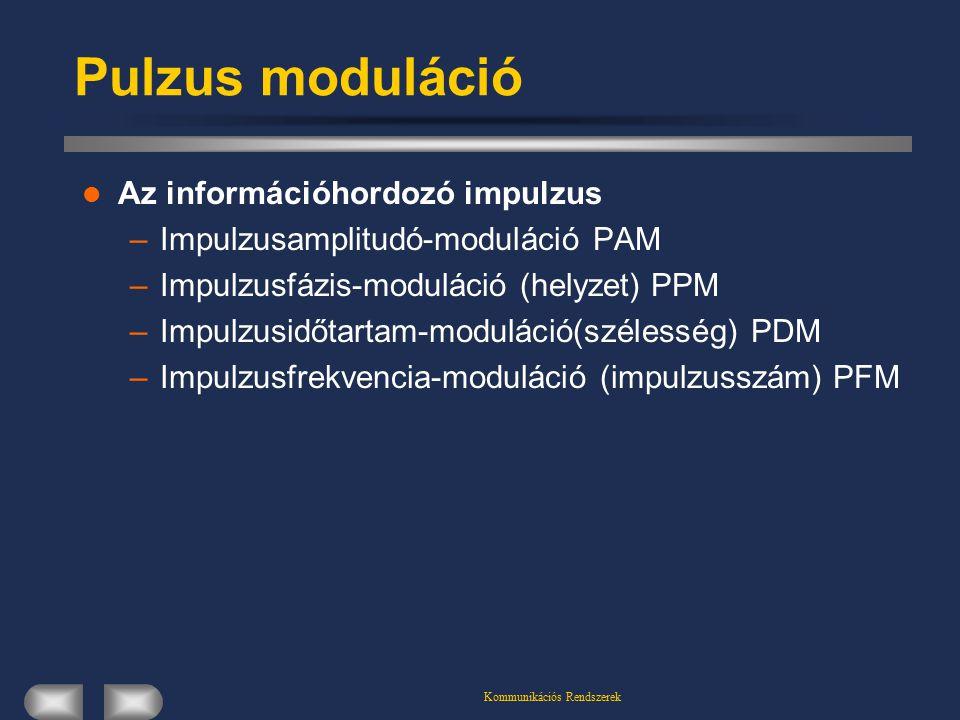 Kommunikációs Rendszerek Pulzus moduláció Az információhordozó impulzus –Impulzusamplitudó-moduláció PAM –Impulzusfázis-moduláció (helyzet) PPM –Impul