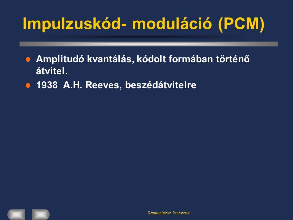 Kommunikációs Rendszerek Impulzuskód- moduláció (PCM) Amplitudó kvantálás, kódolt formában történő átvitel. 1938 A.H. Reeves, beszédátvitelre
