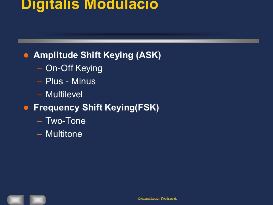 Kommunikációs Rendszerek Digitális Moduláció Amplitude Shift Keying (ASK) –On-Off Keying –Plus - Minus –Multilevel Frequency Shift Keying(FSK) –Two-Tone –Multitone