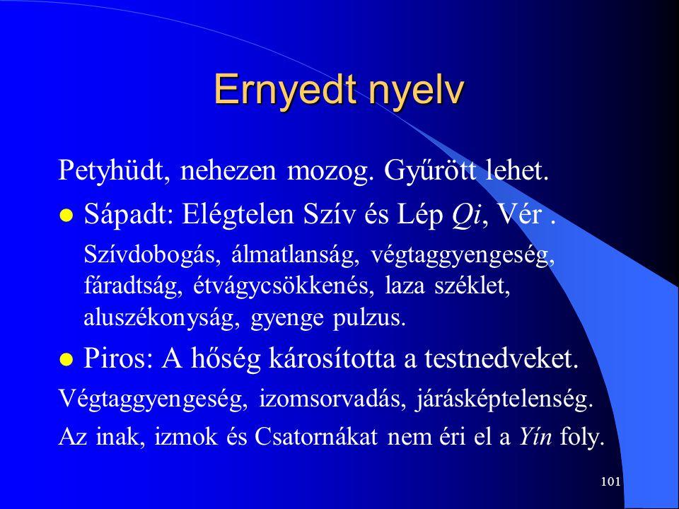 101 Ernyedt nyelv Petyhüdt, nehezen mozog. Gyűrött lehet. l Sápadt: Elégtelen Szív és Lép Qi, Vér. Szívdobogás, álmatlanság, végtaggyengeség, fáradtsá