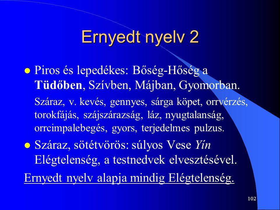 102 Ernyedt nyelv 2 l Piros és lepedékes: Bőség-Hőség a Tüdőben, Szívben, Májban, Gyomorban. Száraz, v. kevés, gennyes, sárga köpet, orrvérzés, torokf