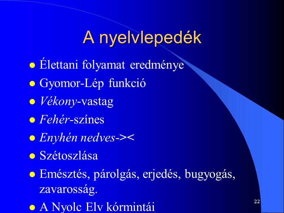 22 A nyelvlepedék l Élettani folyamat eredménye l Gyomor-Lép funkció l Vékony-vastag l Fehér-színes l Enyhén nedves->< l Szétoszlása l Emésztés, párol