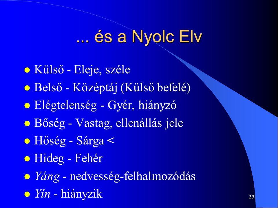 25... és a Nyolc Elv l Külső - Eleje, széle l Belső - Középtáj (Külső befelé) l Elégtelenség - Gyér, hiányzó l Bőség - Vastag, ellenállás jele l Hőség