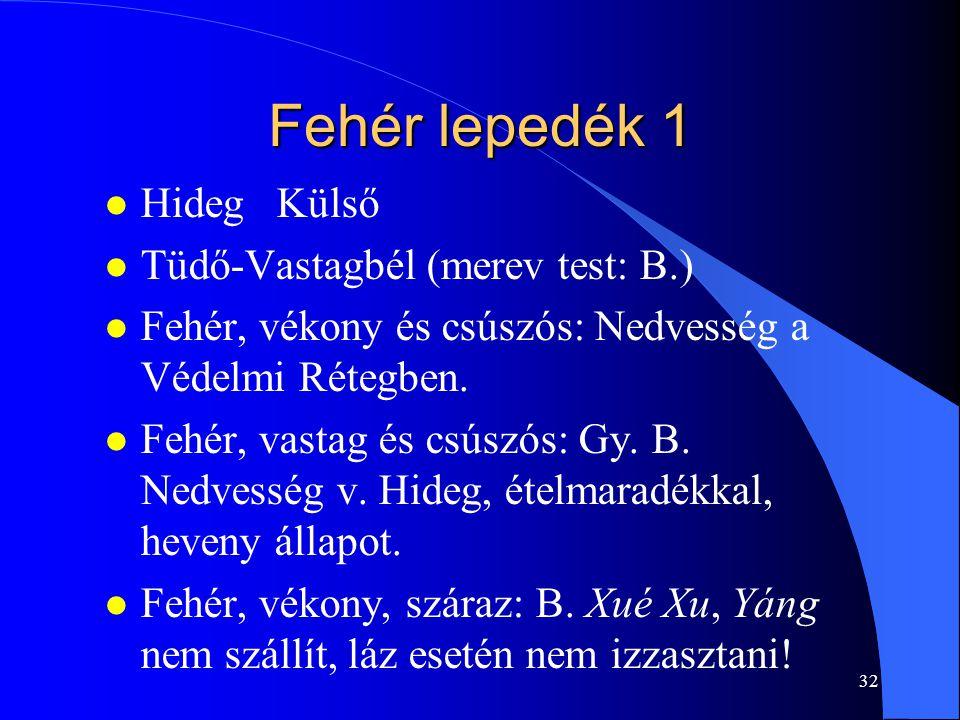 32 Fehér lepedék 1 l Hideg Külső l Tüdő-Vastagbél (merev test: B.) l Fehér, vékony és csúszós: Nedvesség a Védelmi Rétegben. l Fehér, vastag és csúszó