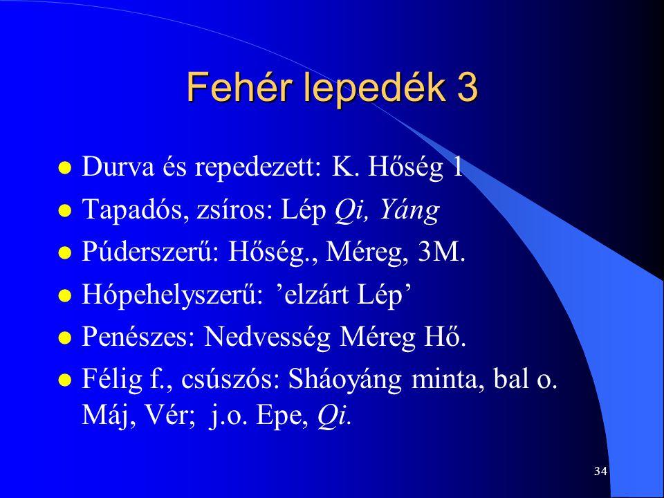 34 Fehér lepedék 3 l Durva és repedezett: K. Hőség 1 l Tapadós, zsíros: Lép Qi, Yáng l Púderszerű: Hőség., Méreg, 3M. l Hópehelyszerű: 'elzárt Lép' l