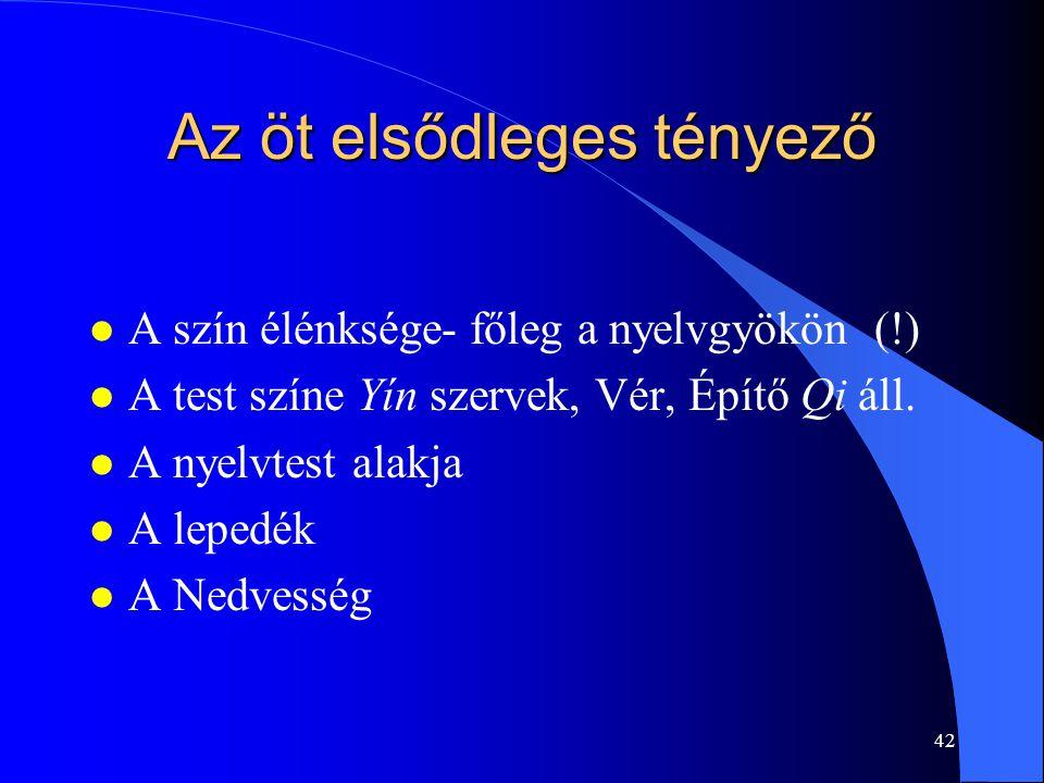 42 Az öt elsődleges tényező l A szín élénksége- főleg a nyelvgyökön (!) l A test színe Yín szervek, Vér, Építő Qi áll. l A nyelvtest alakja l A lepedé