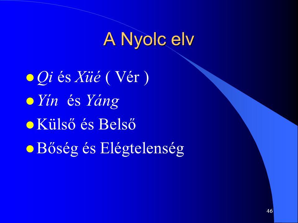 46 A Nyolc elv l Qi és Xüé ( Vér ) l Yín és Yáng l Külső és Belső l Bőség és Elégtelenség