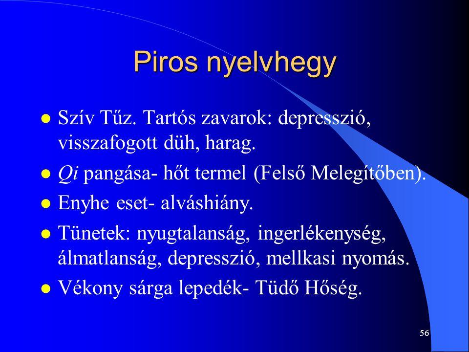 56 Piros nyelvhegy l Szív Tűz. Tartós zavarok: depresszió, visszafogott düh, harag. l Qi pangása- hőt termel (Felső Melegítőben). l Enyhe eset- alvásh