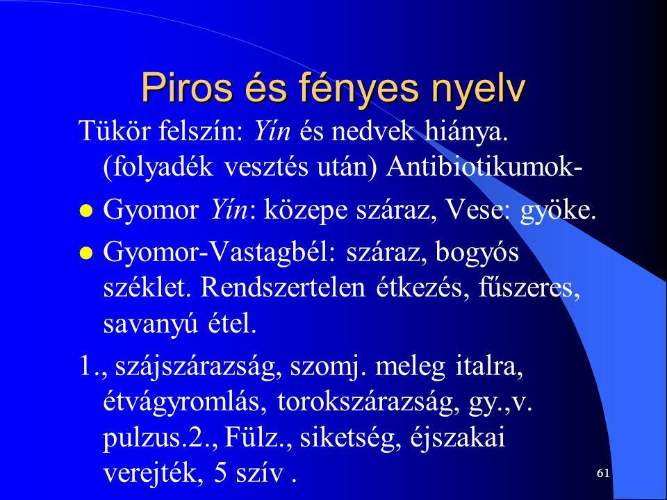 61 Piros és fényes nyelv Tükör felszín: Yín és nedvek hiánya. (folyadék vesztés után) Antibiotikumok- l Gyomor Yín: közepe száraz, Vese: gyöke. l Gyom