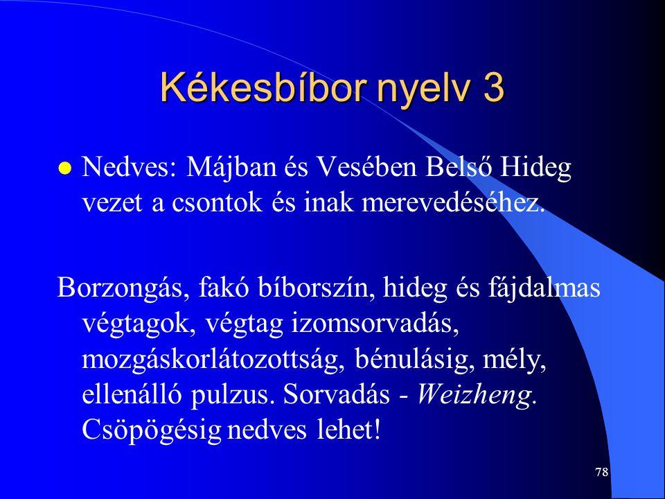 78 Kékesbíbor nyelv 3 l Nedves: Májban és Vesében Belső Hideg vezet a csontok és inak merevedéséhez. Borzongás, fakó bíborszín, hideg és fájdalmas vég