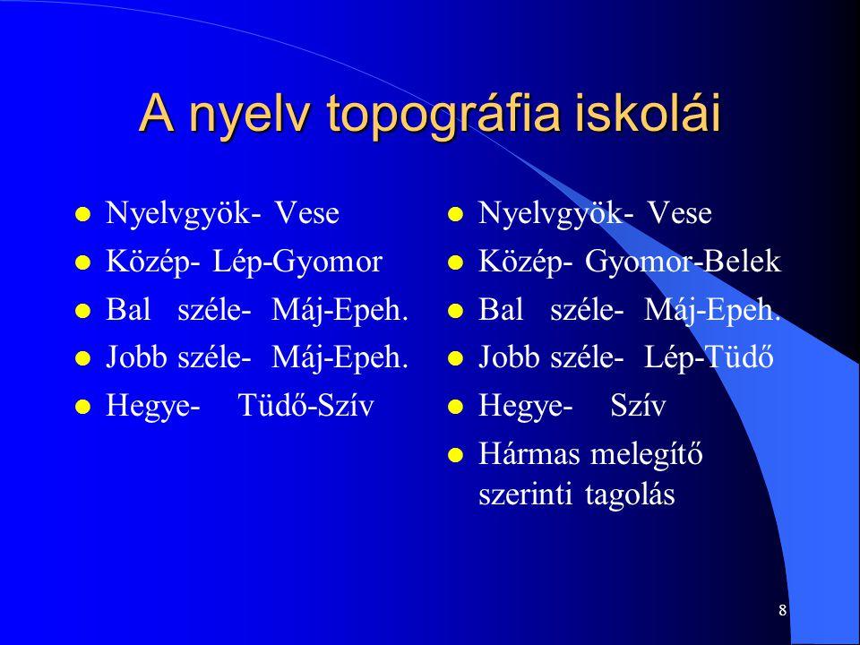 8 A nyelv topográfia iskolái l Nyelvgyök- Vese l Közép- Lép-Gyomor l Bal széle- Máj-Epeh. l Jobb széle- Máj-Epeh. l Hegye- Tüdő-Szív l Nyelvgyök- Vese