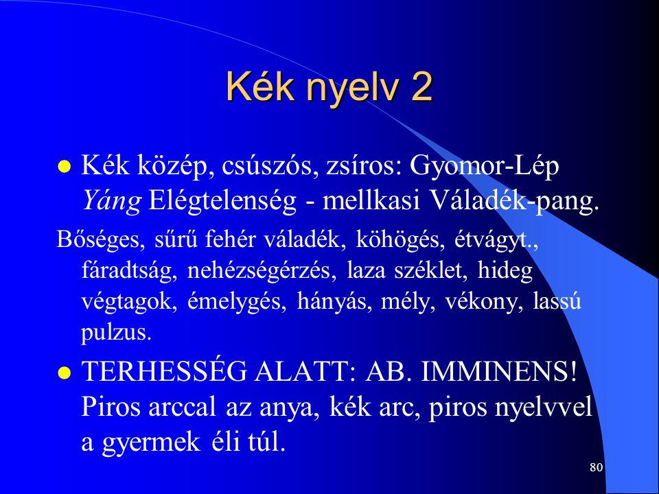 80 Kék nyelv 2 l Kék közép, csúszós, zsíros: Gyomor-Lép Yáng Elégtelenség - mellkasi Váladék-pang. Bőséges, sűrű fehér váladék, köhögés, étvágyt., fár