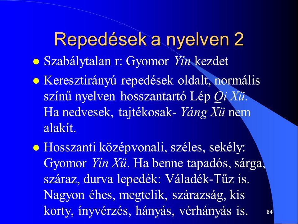 84 Repedések a nyelven 2 l Szabálytalan r: Gyomor Yín kezdet l Keresztirányú repedések oldalt, normális színű nyelven hosszantartó Lép Qi Xü. Ha nedve