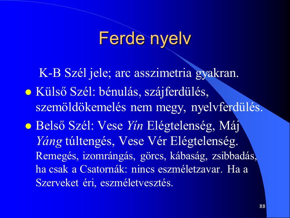 88 Ferde nyelv K-B Szél jele; arc asszimetria gyakran. l Külső Szél: bénulás, szájferdülés, szemöldökemelés nem megy, nyelvferdülés. l Belső Szél: Ves