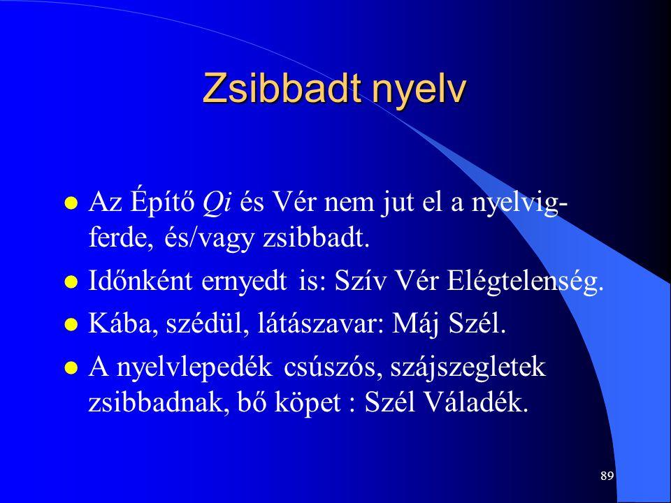 89 Zsibbadt nyelv l Az Építő Qi és Vér nem jut el a nyelvig- ferde, és/vagy zsibbadt. l Időnként ernyedt is: Szív Vér Elégtelenség. l Kába, szédül, lá
