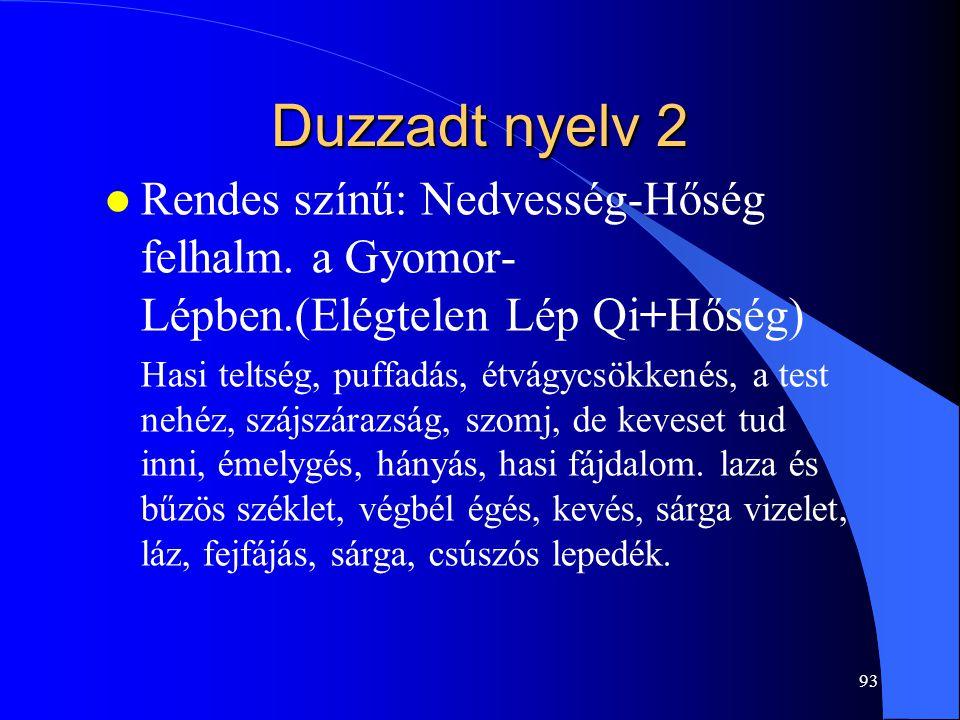 93 Duzzadt nyelv 2 l Rendes színű: Nedvesség-Hőség felhalm. a Gyomor- Lépben.(Elégtelen Lép Qi+Hőség) Hasi teltség, puffadás, étvágycsökkenés, a test