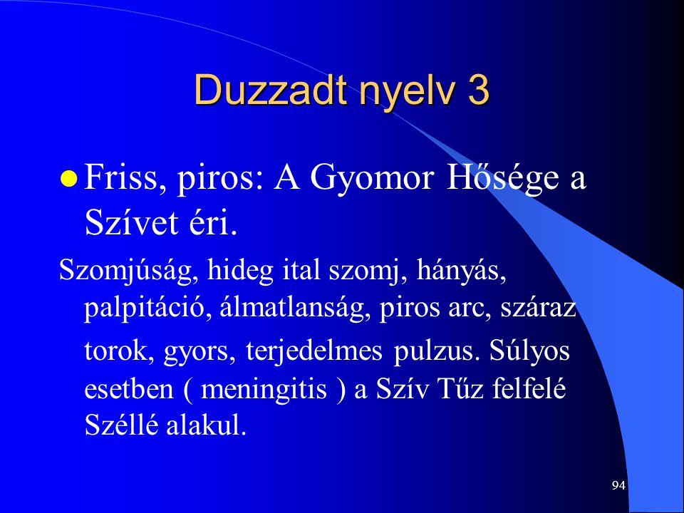 94 Duzzadt nyelv 3 l Friss, piros: A Gyomor Hősége a Szívet éri. Szomjúság, hideg ital szomj, hányás, palpitáció, álmatlanság, piros arc, száraz torok
