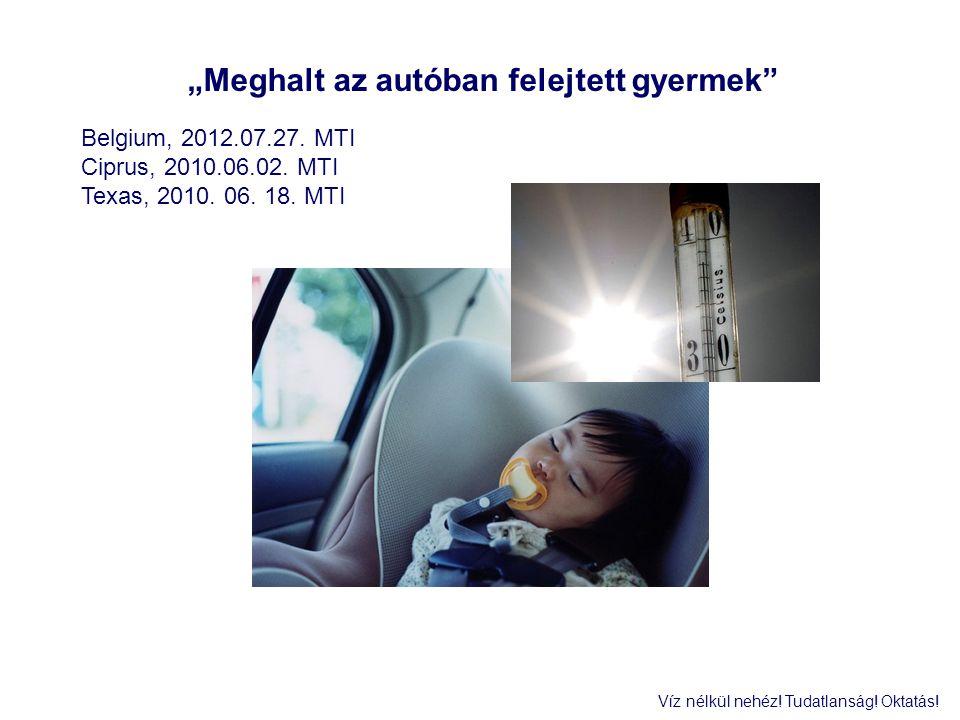 """""""Meghalt az autóban felejtett gyermek"""" Belgium, 2012.07.27. MTI Ciprus, 2010.06.02. MTI Texas, 2010. 06. 18. MTI Víz nélkül nehéz! Tudatlanság! Oktatá"""