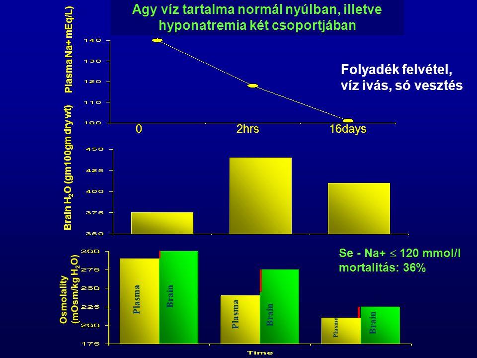 Osmolality(mOsm/kg H 2 O) Brain H 2 O (gm100gm dry wt) Plasma Na+ mEq/L) Agy víz tartalma normál nyúlban, illetve hyponatremia két csoportjában Plasma