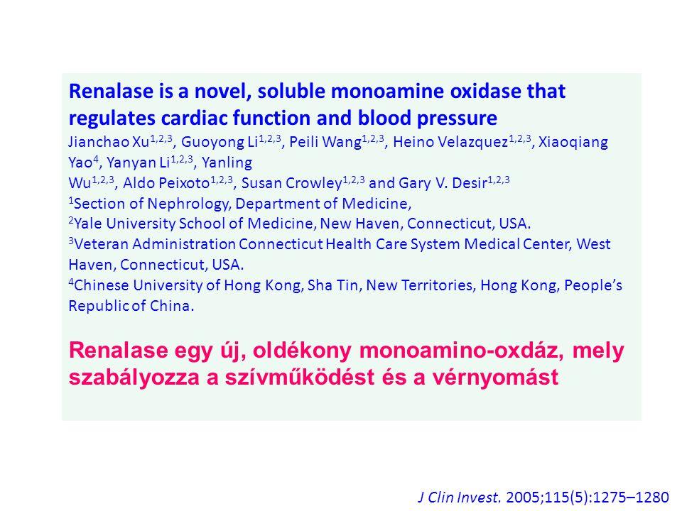 Renalase is a novel, soluble monoamine oxidase that regulates cardiac function and blood pressure Jianchao Xu 1,2,3, Guoyong Li 1,2,3, Peili Wang 1,2,