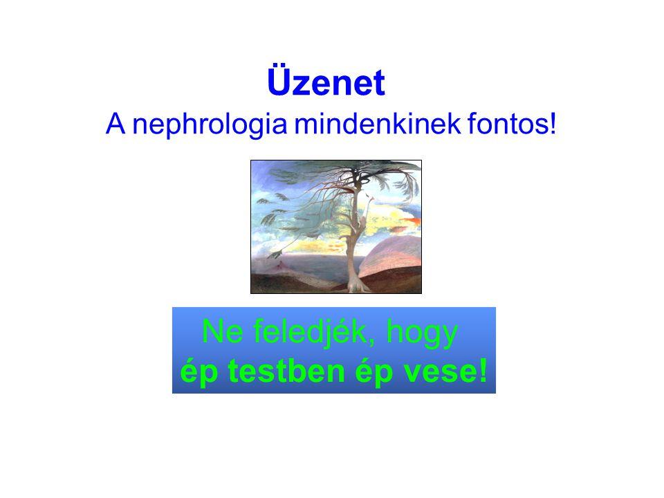 A nephrologia mindenkinek fontos! Üzenet Ne feledjék, hogy ép testben ép vese!