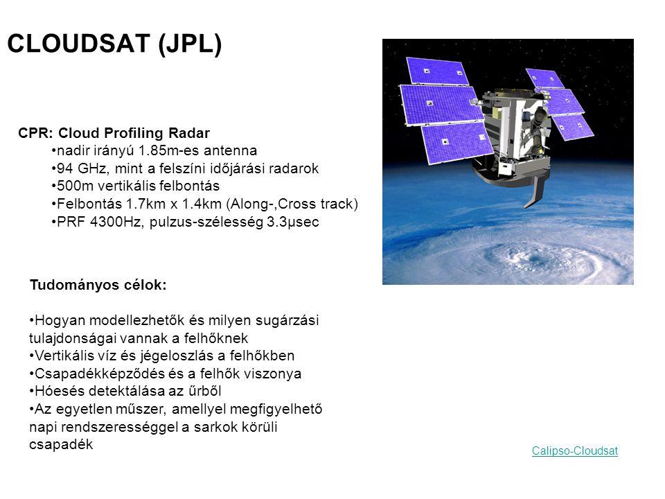CLOUDSAT (JPL) CPR: Cloud Profiling Radar nadir irányú 1.85m-es antenna 94 GHz, mint a felszíni időjárási radarok 500m vertikális felbontás Felbontás