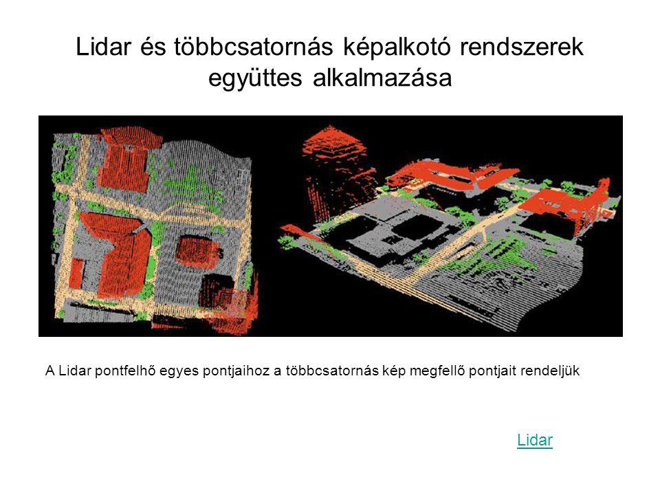 Lidar és többcsatornás képalkotó rendszerek együttes alkalmazása A Lidar pontfelhő egyes pontjaihoz a többcsatornás kép megfellő pontjait rendeljük Li