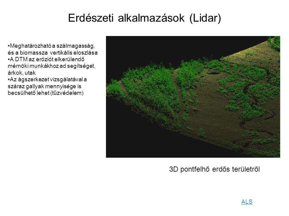 Erdészeti alkalmazások (Lidar) 3D pontfelhő erdős területről Meghatározható a szálmagasság, és a biomassza vertikális eloszlása A DTM az eróziót elker