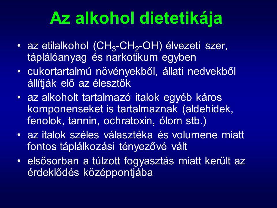 Az alkohol dietetikája az etilalkohol (CH 3 -CH 2 -OH) élvezeti szer, táplálóanyag és narkotikum egyben cukortartalmú növényekből, állati nedvekből ál