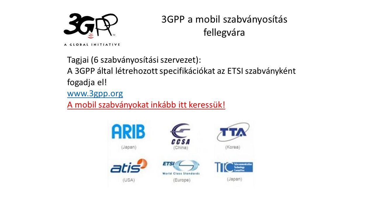 3GPP a mobil szabványosítás fellegvára Tagjai (6 szabványosítási szervezet): A 3GPP által létrehozott specifikációkat az ETSI szabványként fogadja el.