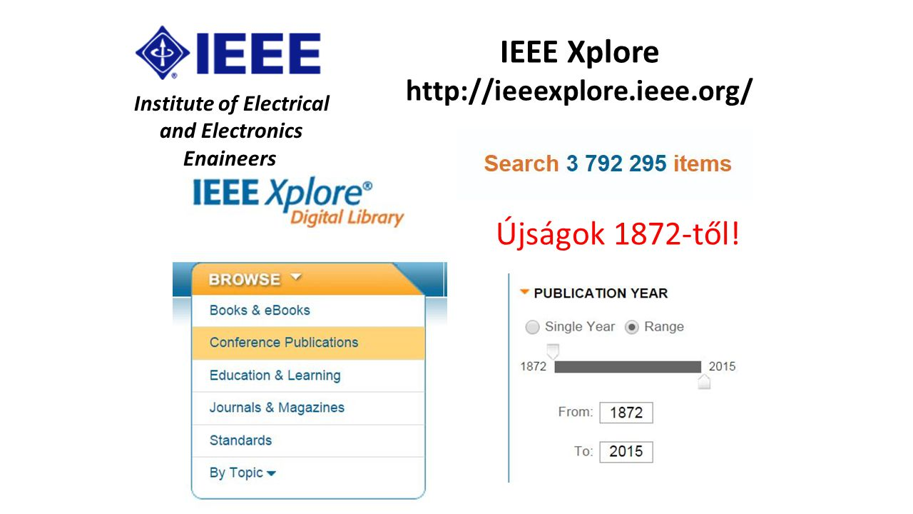 Institute of Electrical and Electronics Engineers IEEE Xplore http://ieeexplore.ieee.org/ Újságok 1872-től!