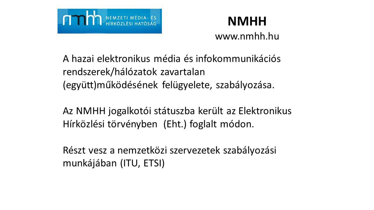 NMHH www.nmhh.hu A hazai elektronikus média és infokommunikációs rendszerek/hálózatok zavartalan (együtt)működésének felügyelete, szabályozása.