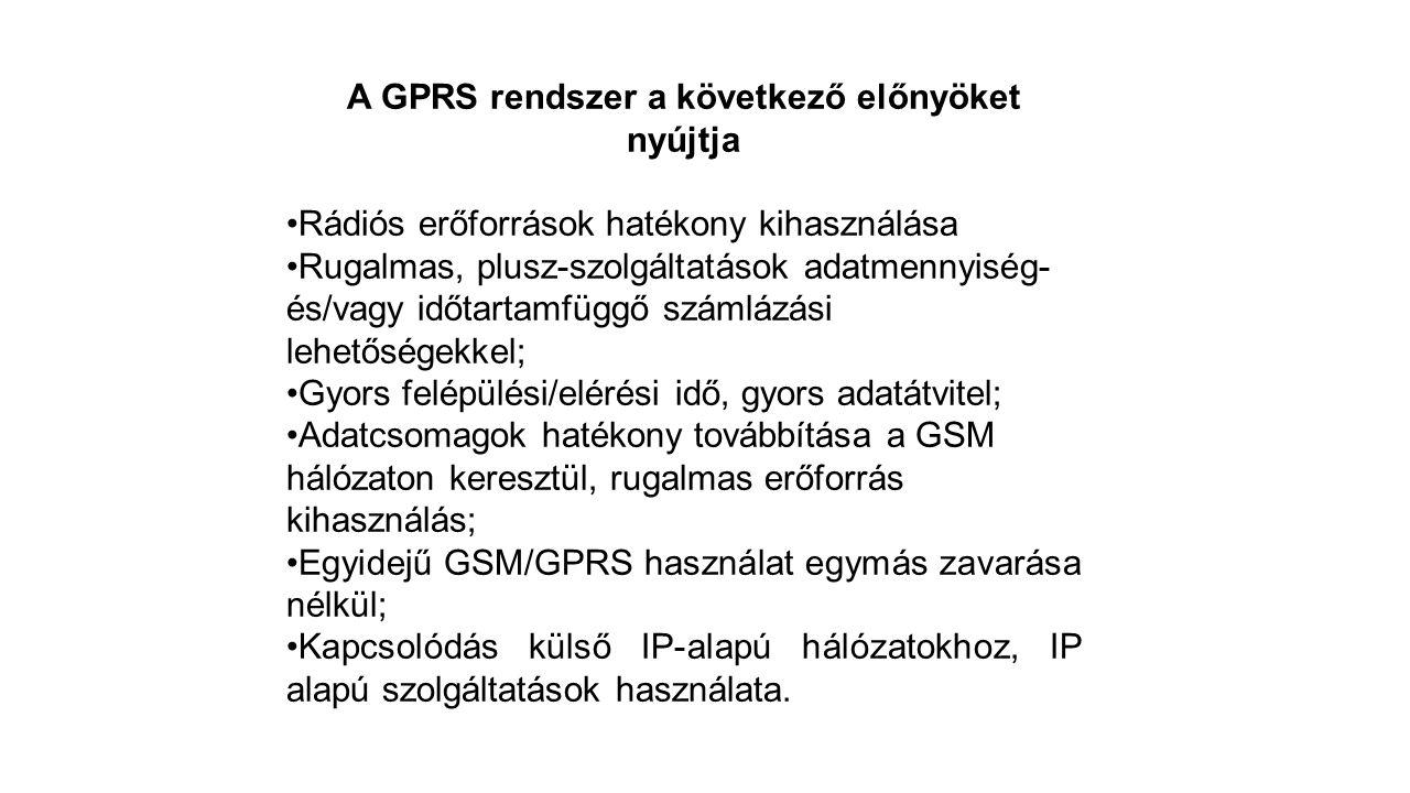 A GPRS rendszer a következő előnyöket nyújtja Rádiós erőforrások hatékony kihasználása Rugalmas, plusz-szolgáltatások adatmennyiség- és/vagy időtartamfüggő számlázási lehetőségekkel; Gyors felépülési/elérési idő, gyors adatátvitel; Adatcsomagok hatékony továbbítása a GSM hálózaton keresztül, rugalmas erőforrás kihasználás; Egyidejű GSM/GPRS használat egymás zavarása nélkül; Kapcsolódás külső IP-alapú hálózatokhoz, IP alapú szolgáltatások használata.