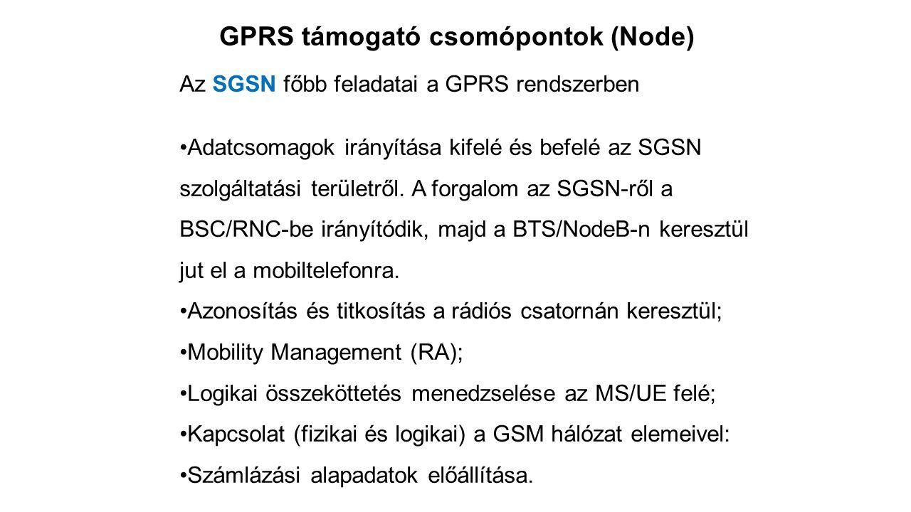 GPRS támogató csomópontok (Node) Az SGSN főbb feladatai a GPRS rendszerben Adatcsomagok irányítása kifelé és befelé az SGSN szolgáltatási területről.