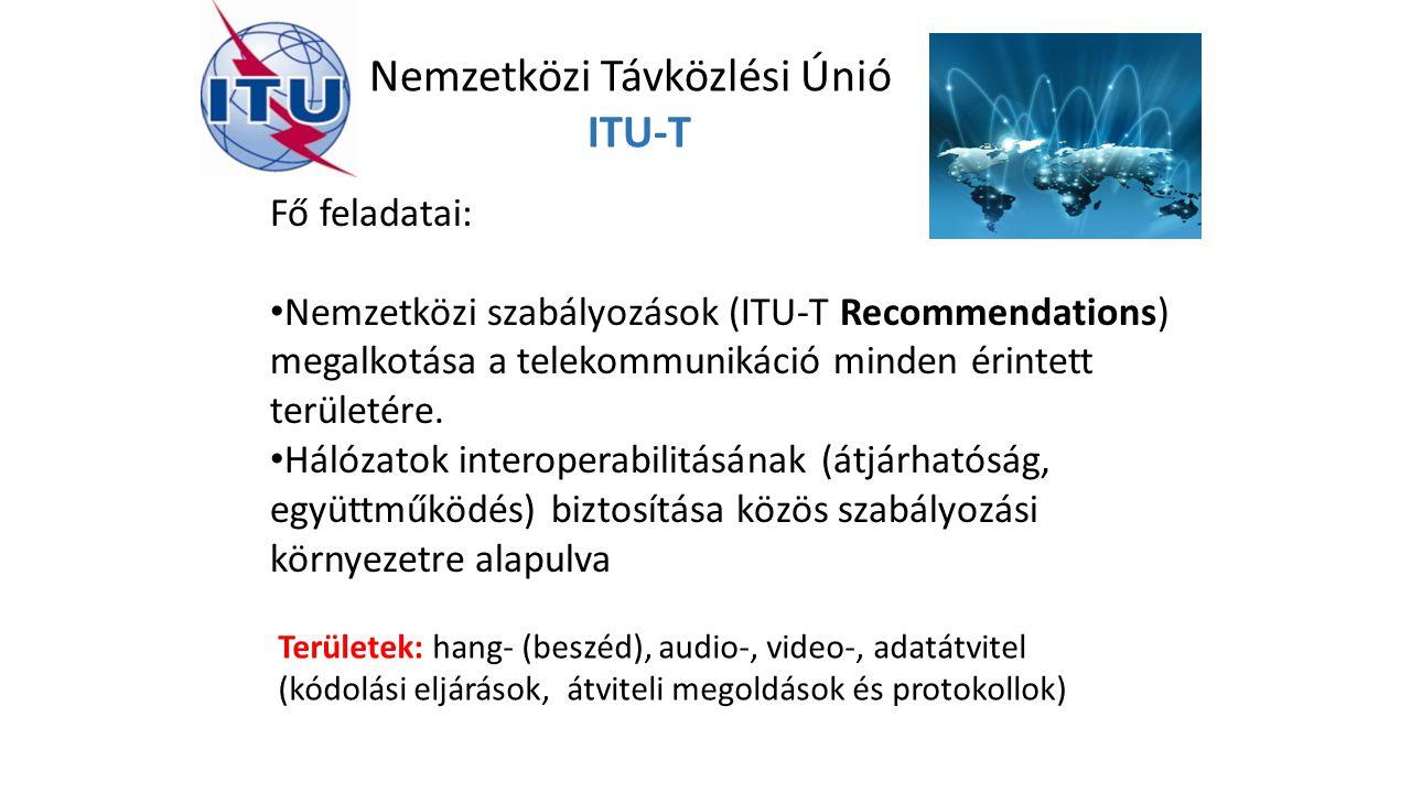 Nemzetközi Távközlési Únió ITU-T Fő feladatai: Nemzetközi szabályozások (ITU-T Recommendations) megalkotása a telekommunikáció minden érintett területére.