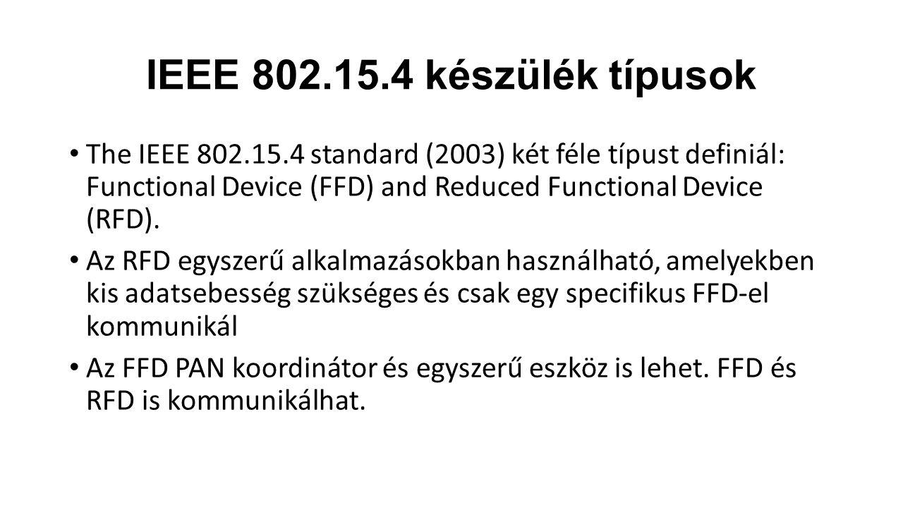 IEEE 802.15.4 készülék típusok The IEEE 802.15.4 standard (2003) két féle típust definiál: Functional Device (FFD) and Reduced Functional Device (RFD).