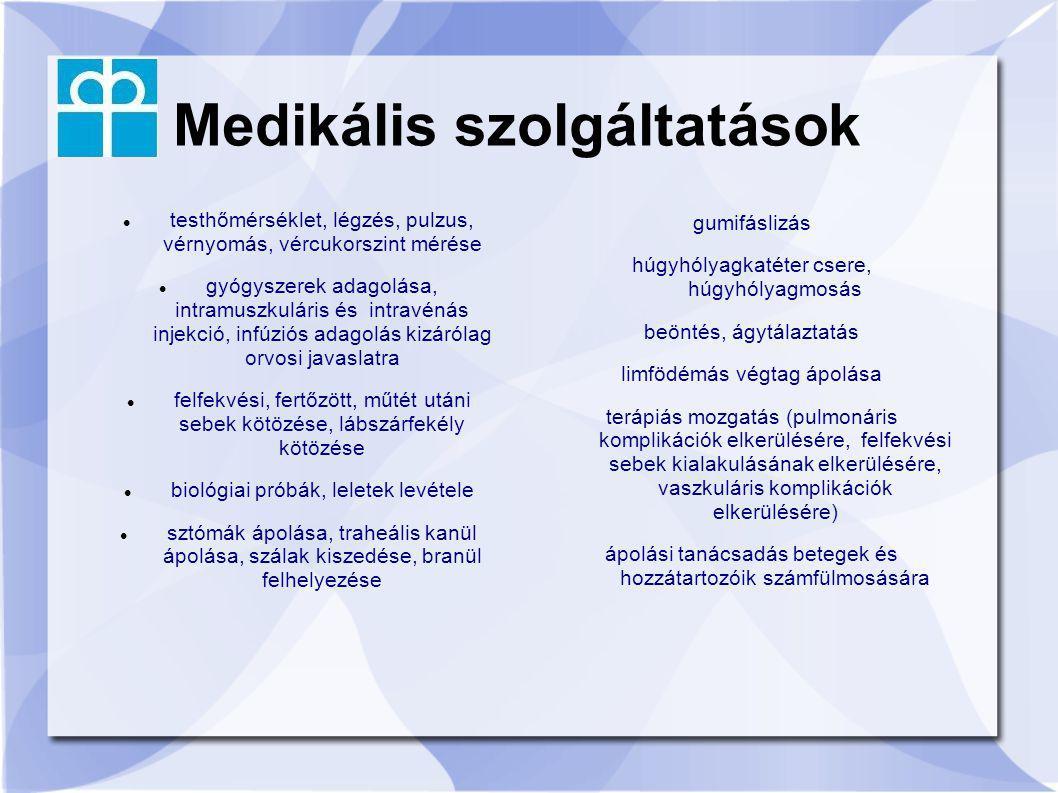 Medikális szolgáltatások testhőmérséklet, légzés, pulzus, vérnyomás, vércukorszint mérése gyógyszerek adagolása, intramuszkuláris és intravénás injekc