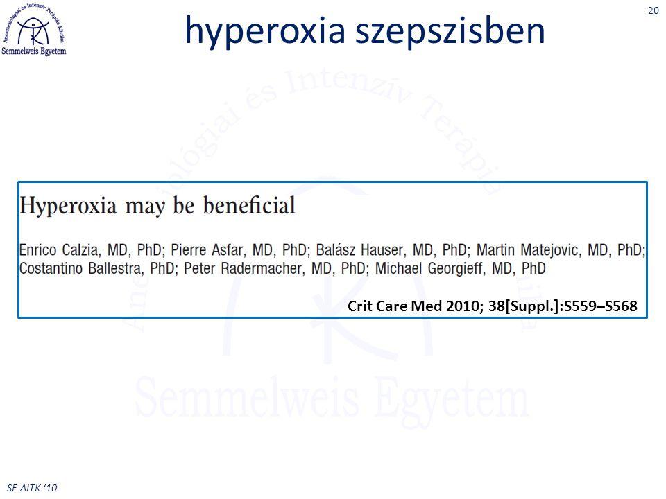 SE AITK '10 hyperoxia szepszisben 20 Crit Care Med 2010; 38[Suppl.]:S559–S568