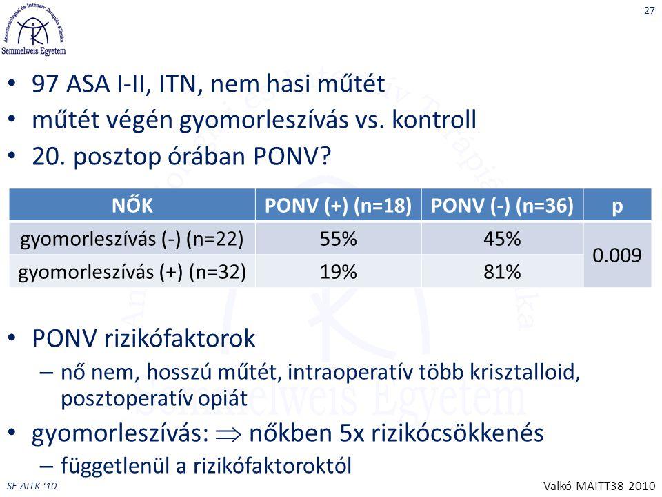 SE AITK '10 97 ASA I-II, ITN, nem hasi műtét műtét végén gyomorleszívás vs.