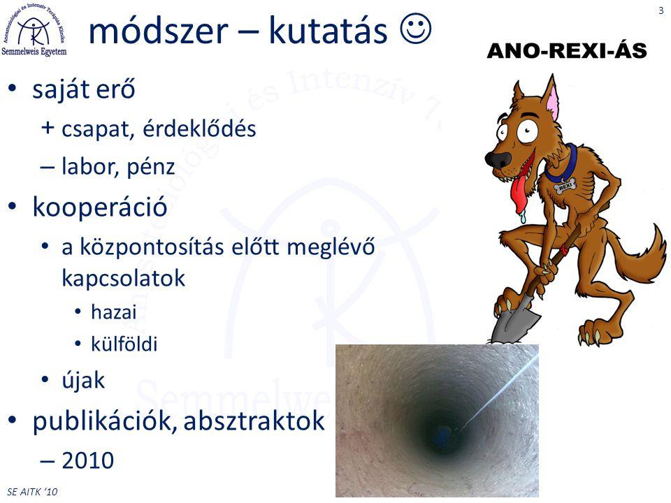 SE AITK '10 módszer – kutatás saját erő + csapat, érdeklődés – labor, pénz kooperáció a központosítás előtt meglévő kapcsolatok hazai külföldi újak publikációk, absztraktok – 2010 3