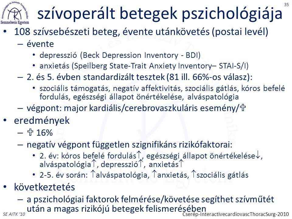SE AITK '10 szívoperált betegek pszichológiája 108 szívsebészeti beteg, évente utánkövetés (postai levél) – évente depresszió (Beck Depression Inventory - BDI) anxietás (Speilberg State-Trait Anxiety Inventory– STAI-S/I) – 2.