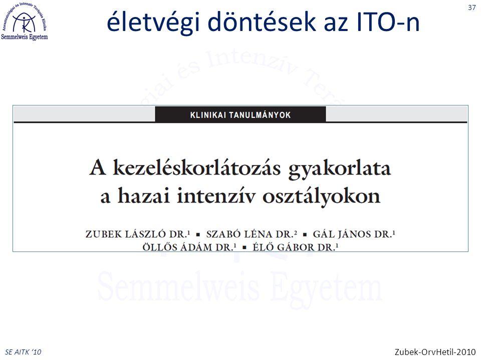 SE AITK '10 életvégi döntések az ITO-n 37 Zubek-OrvHetil-2010