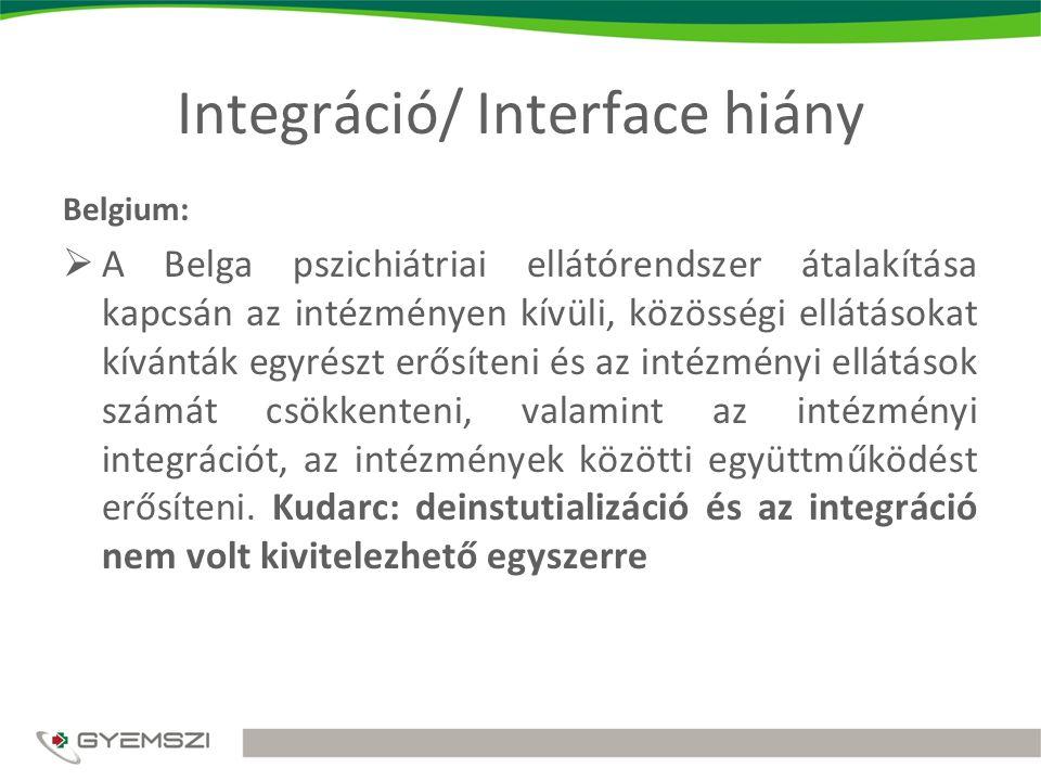 Integráció/ Interface hiány Belgium:  A Belga pszichiátriai ellátórendszer átalakítása kapcsán az intézményen kívüli, közösségi ellátásokat kívánták egyrészt erősíteni és az intézményi ellátások számát csökkenteni, valamint az intézményi integrációt, az intézmények közötti együttműködést erősíteni.