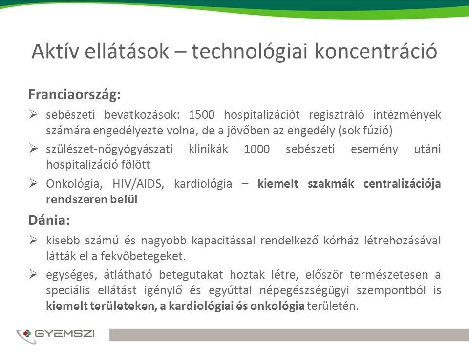 Aktív ellátások – technológiai koncentráció Franciaország:  sebészeti bevatkozások: 1500 hospitalizációt regisztráló intézmények számára engedélyezte volna, de a jövőben az engedély (sok fúzió)  szülészet-nőgyógyászati klinikák 1000 sebészeti esemény utáni hospitalizáció fölött  Onkológia, HIV/AIDS, kardiológia – kiemelt szakmák centralizációja rendszeren belül Dánia:  kisebb számú és nagyobb kapacitással rendelkező kórház létrehozásával látták el a fekvőbetegeket.