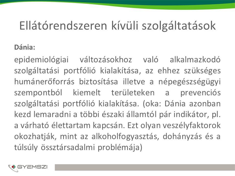 Ellátórendszeren kívüli szolgáltatások Dánia: epidemiológiai változásokhoz való alkalmazkodó szolgáltatási portfólió kialakítása, az ehhez szükséges humánerőforrás biztosítása illetve a népegészségügyi szempontból kiemelt területeken a prevenciós szolgáltatási portfólió kialakítása.