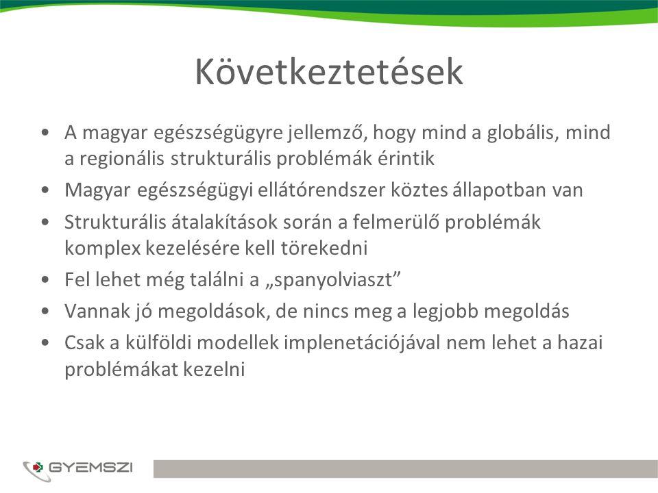 """Következtetések A magyar egészségügyre jellemző, hogy mind a globális, mind a regionális strukturális problémák érintik Magyar egészségügyi ellátórendszer köztes állapotban van Strukturális átalakítások során a felmerülő problémák komplex kezelésére kell törekedni Fel lehet még találni a """"spanyolviaszt Vannak jó megoldások, de nincs meg a legjobb megoldás Csak a külföldi modellek implenetációjával nem lehet a hazai problémákat kezelni"""