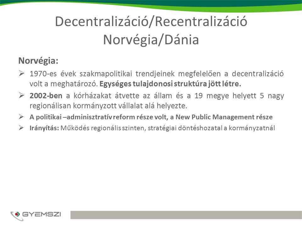 Decentralizáció/Recentralizáció Norvégia/Dánia Dánia:  1970-es években hozták létre a Dán egészségügyi ellátórendszer decentralizáltan működő rendszerét.